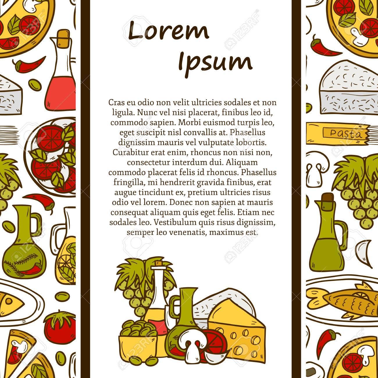Küche-Konzept Mit Nahtlosen Hintergrund-und Cartoon-Objekte Auf ...