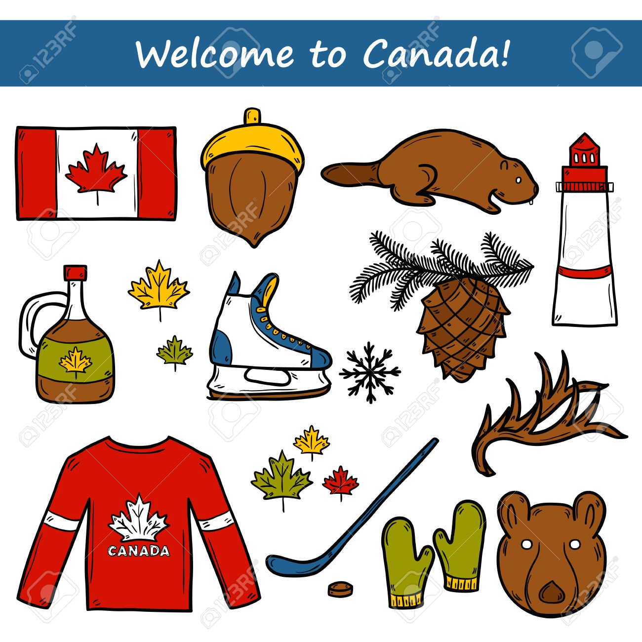 set of cartoon hand drawn objects on canada theme maple syrup