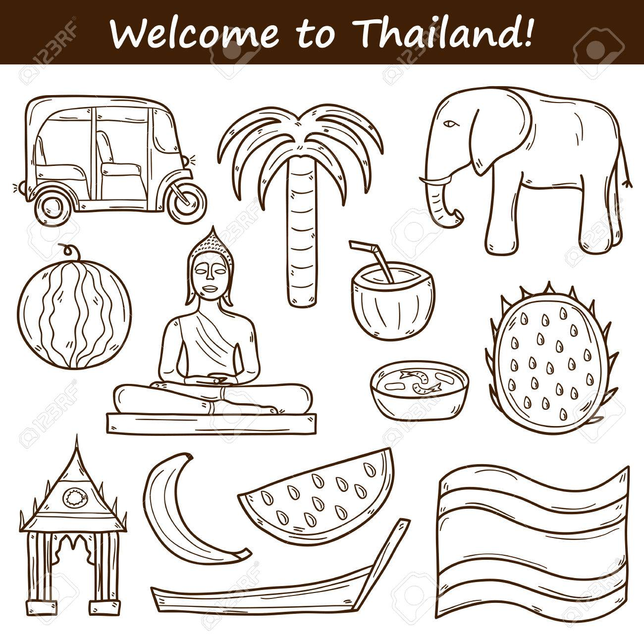 Set Of Cartoon Outline Objects On Thailand Theme Taxi Buddha Flag Fruits