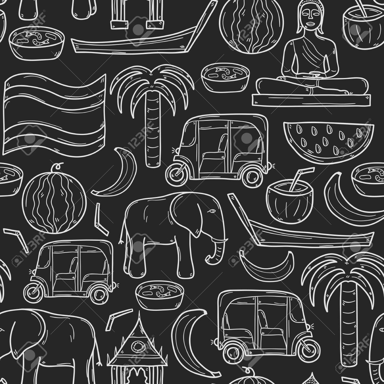 Seamless background with cartoon outline objects in hand drawn seamless background with cartoon outline objects in hand drawn style on thailand theme taxi biocorpaavc Choice Image
