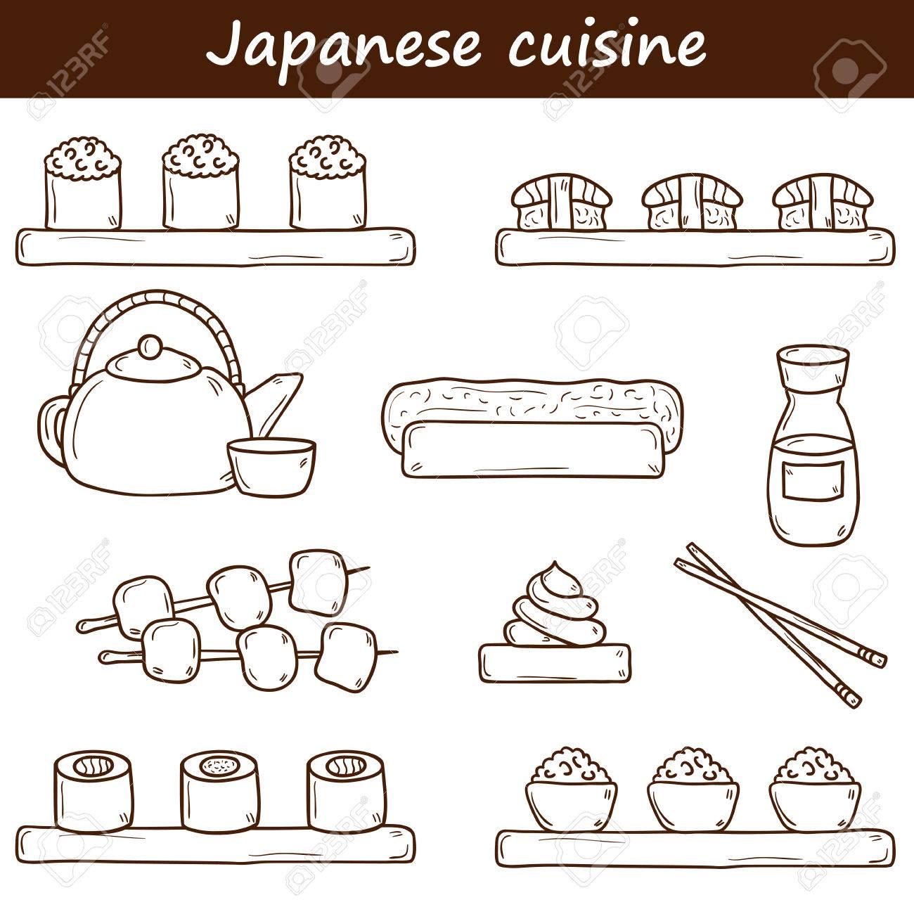 Set Von Niedlichen Cartoon Hand Gezeichnet Symbole Auf Japanische ...