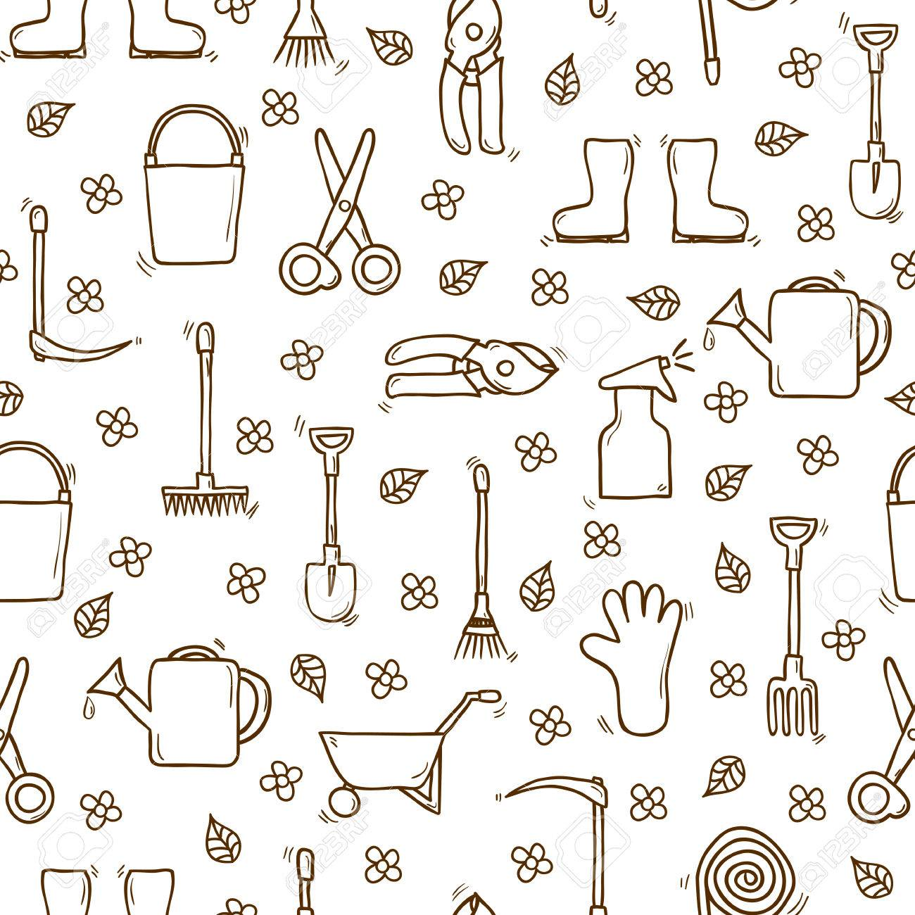 Seamless Backgound With Cartoon Hand Drawn Objects On Garden Theme. Outdoor  Concept With Tools Objects