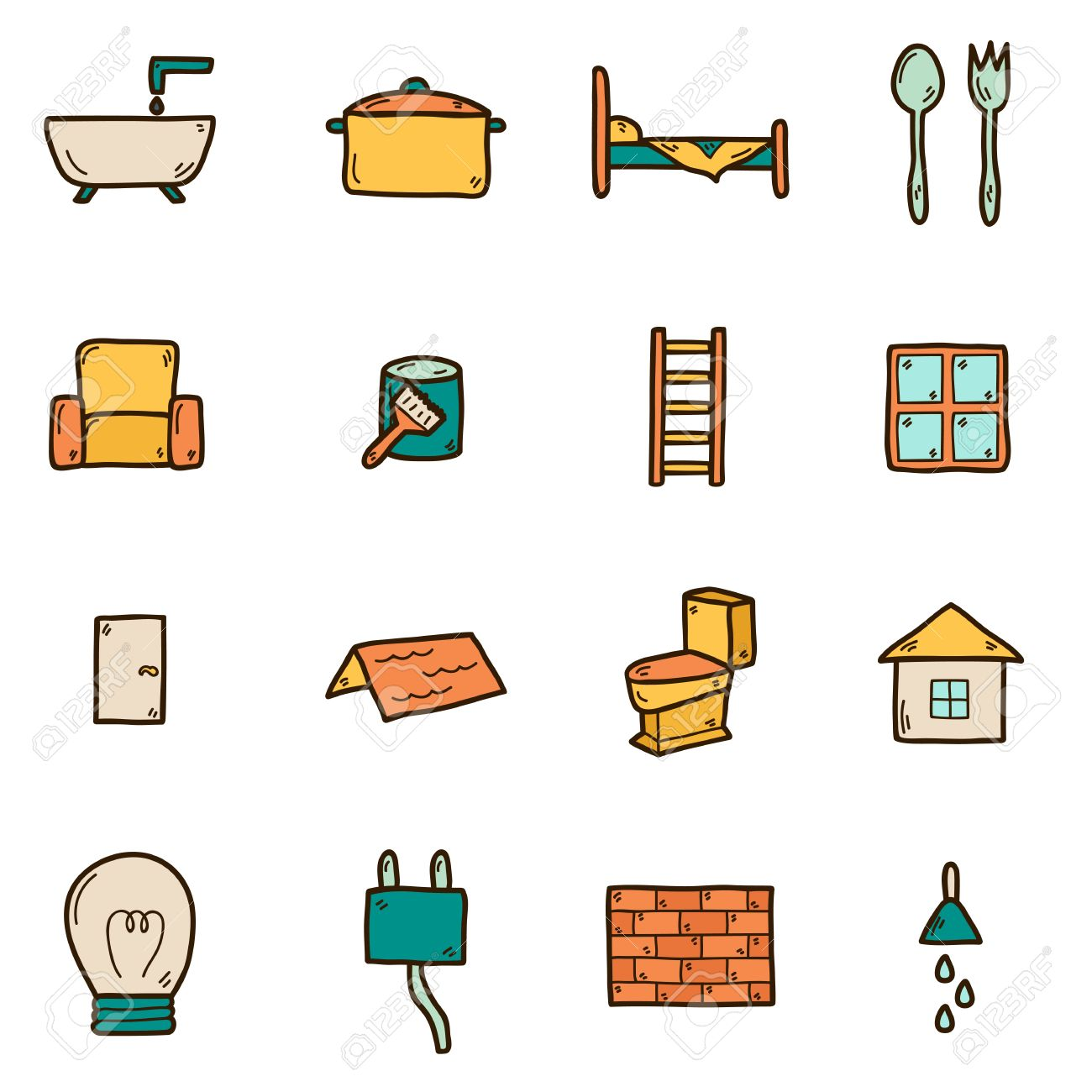 Set Of Hand Drawn Icons On Home Remodeling Theme: Door, Wall, Paint,