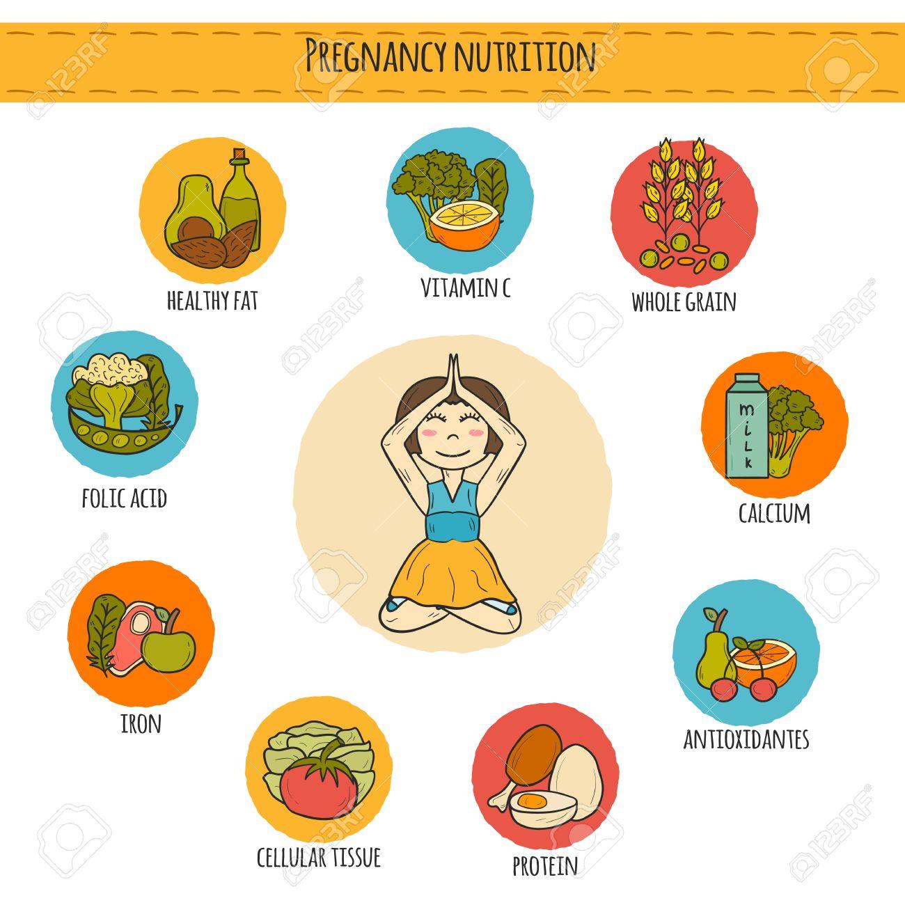 Conjunto De La Mano De Dibujos Animados Infografía Dibujado El Embarazo La Nutrición Con La Mujer Embarazada Y La Comida