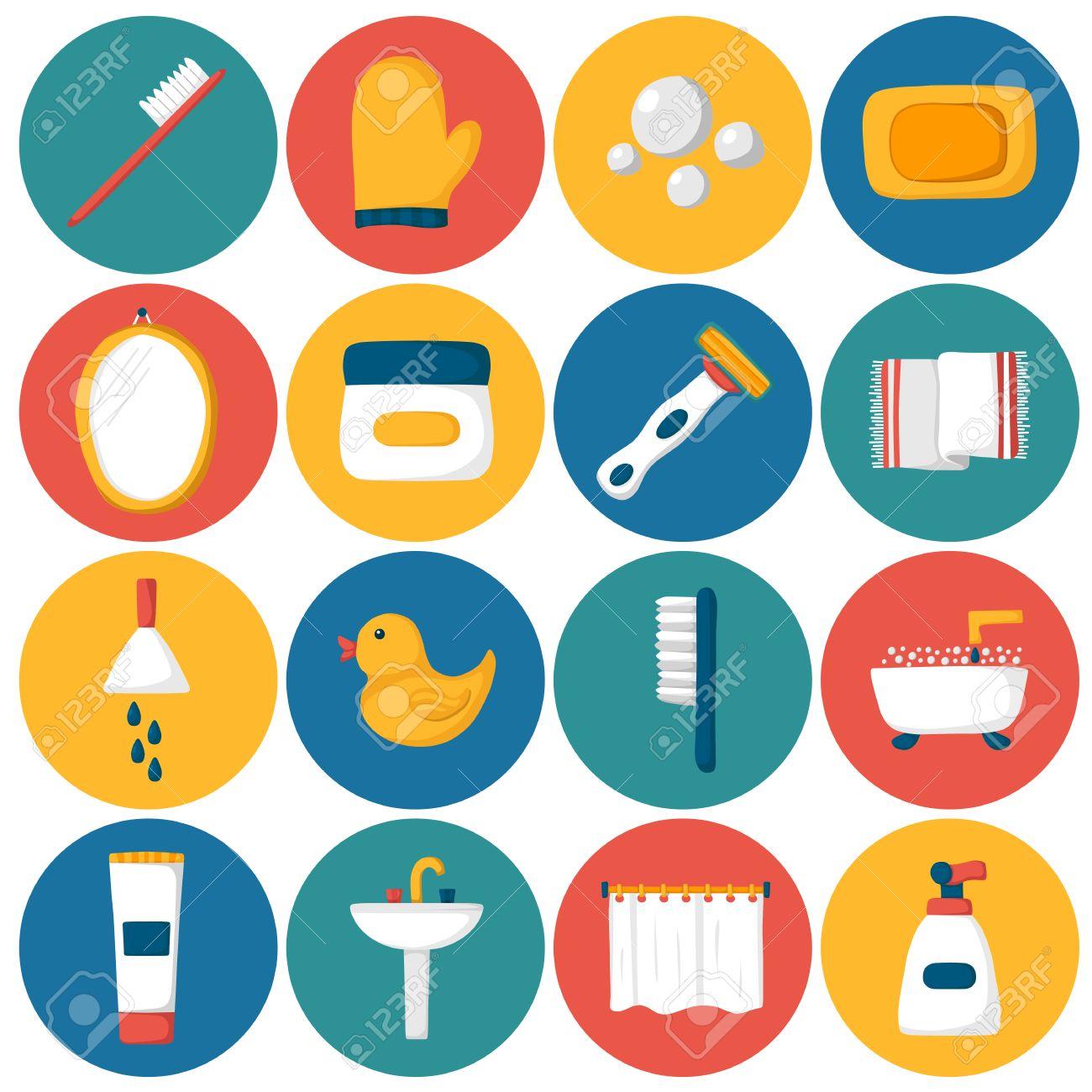Set Of Cartoon Bathroom Icons: Bath, Duck, Toothbrush, Towel ... for Bathroom Sink Toothbrush Clipart  56mzq