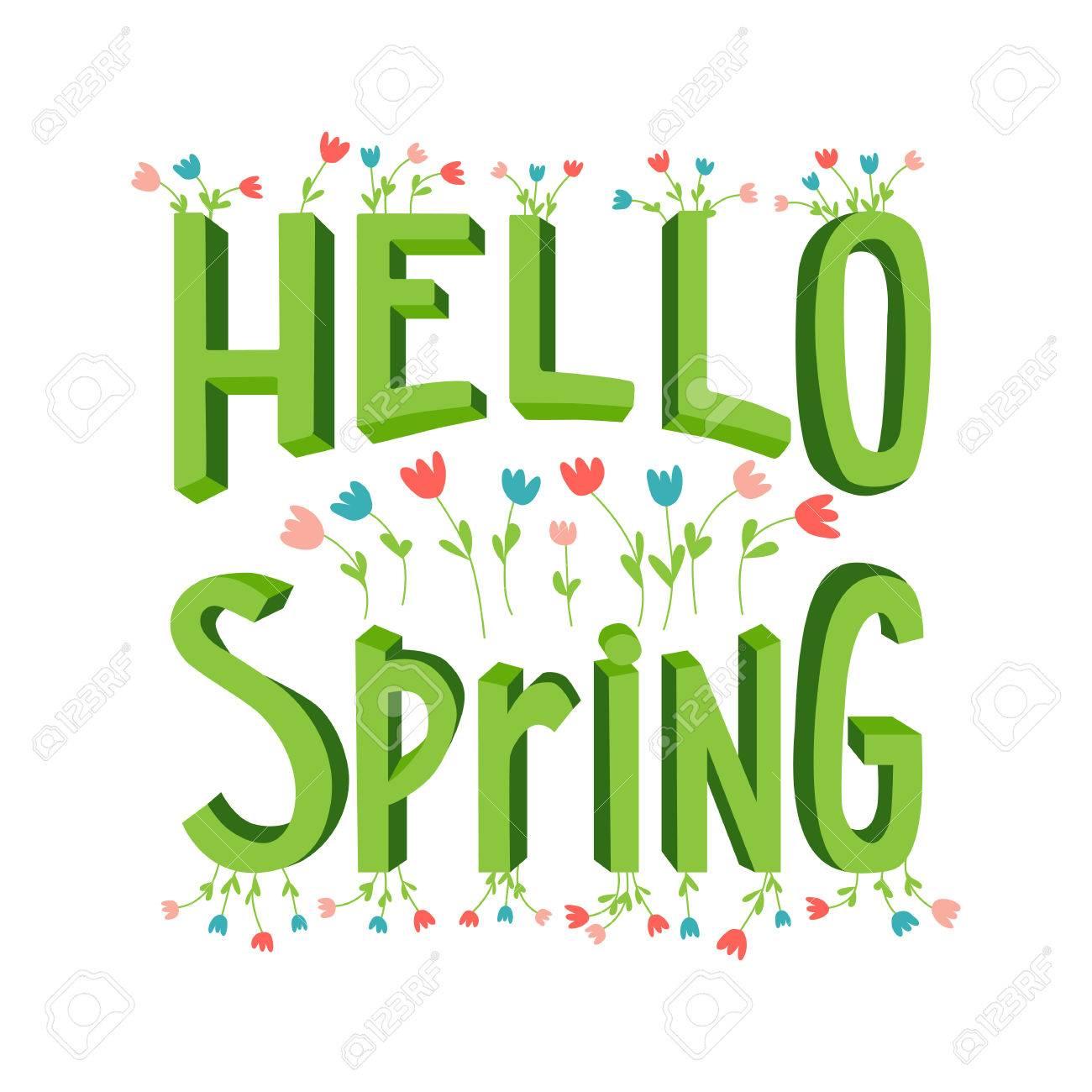 vector spring lettering in cute cartoon style modern banner rh 123rf com spring vector png sprint vector vr