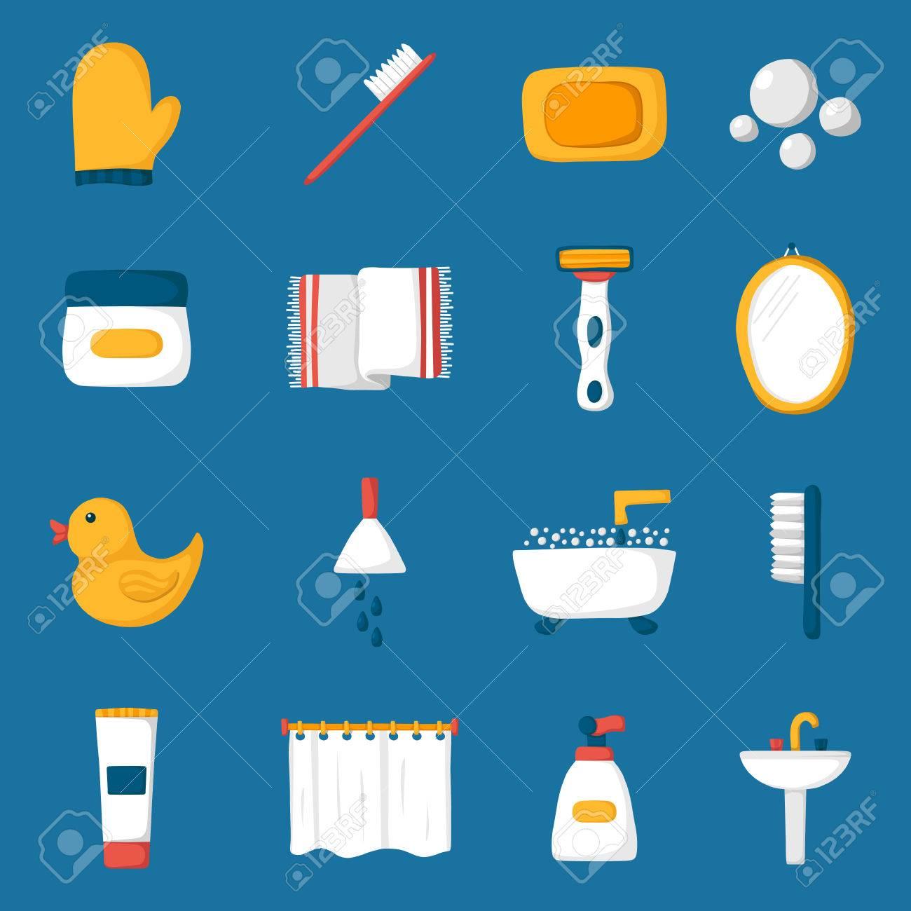 Cosas De Baño | Conjunto De Iconos De Dibujos Animados De Bano Bano Pato Cepillo