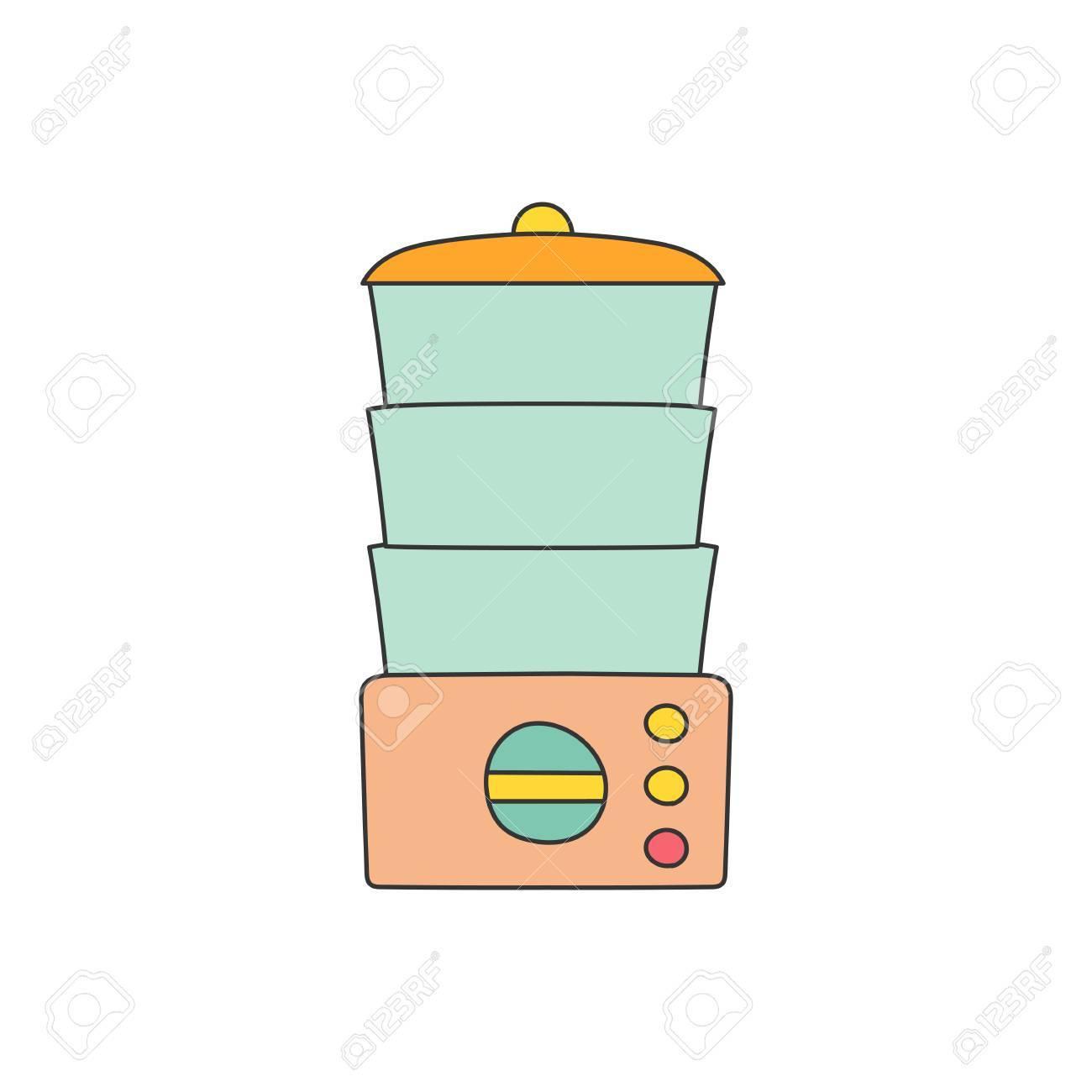Isolated Cartoon Line Kitchen Steamer On White Background. Kitchen ...