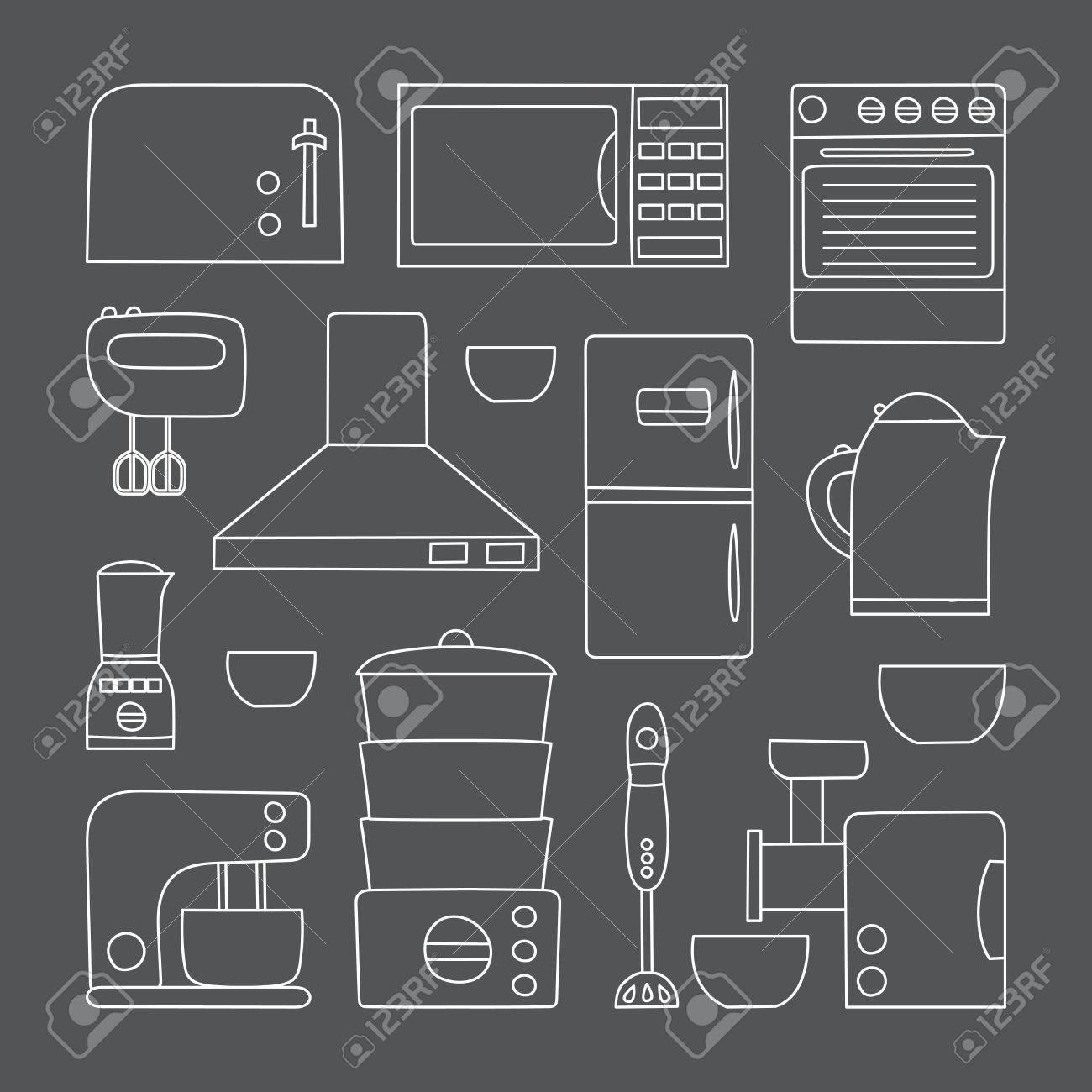 Vector Appareils De Cuisine De Ligne Icône Le Style Plat Simple De Design D Intérieur De La Cuisine Appareils De Cuisine Appartement Objet