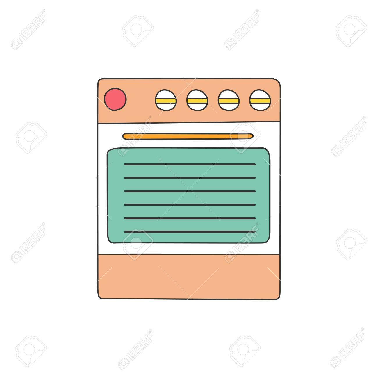 Vector Illustration Avec Isolé Ligne Plate Cuisinière Sur Fond Blanc Appliance Accueil Cuisine Intérieur Conception De Cuisine En Ligne Cooking
