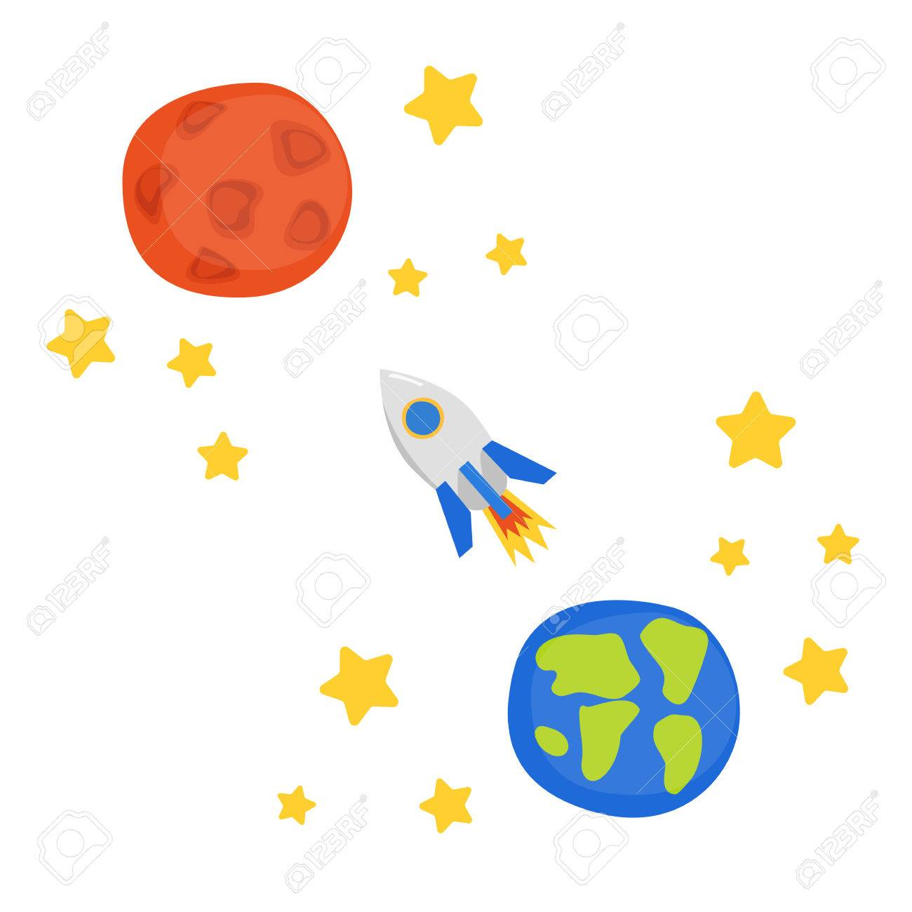 Vector illustration with flight to mars concept cartoon rocket vector illustration with flight to mars concept cartoon rocket stars planet earth and biocorpaavc Choice Image