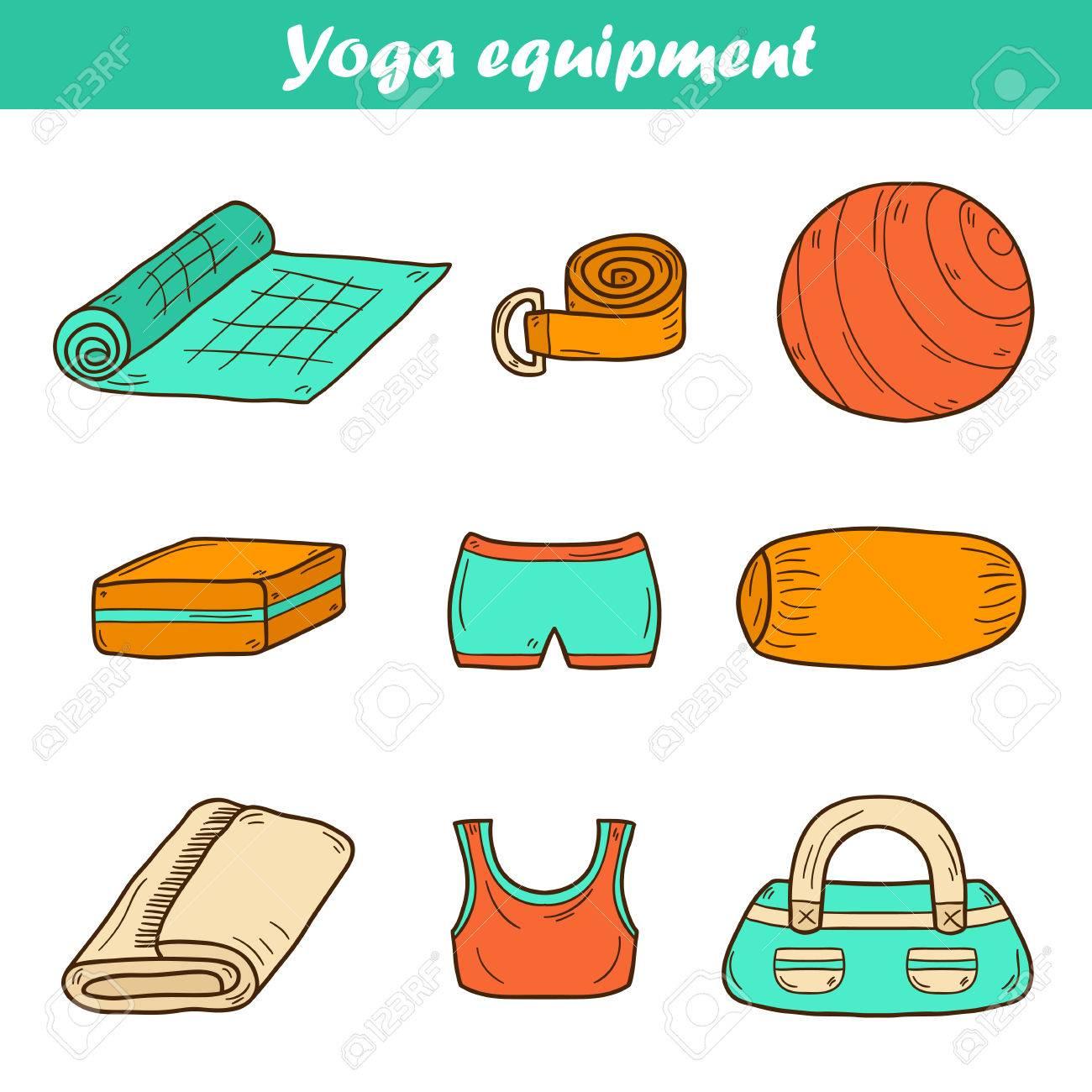 Illustration Mit Comic-Hand Gezeichnet Yoga-Ausrüstung: Yoga-Matte ...