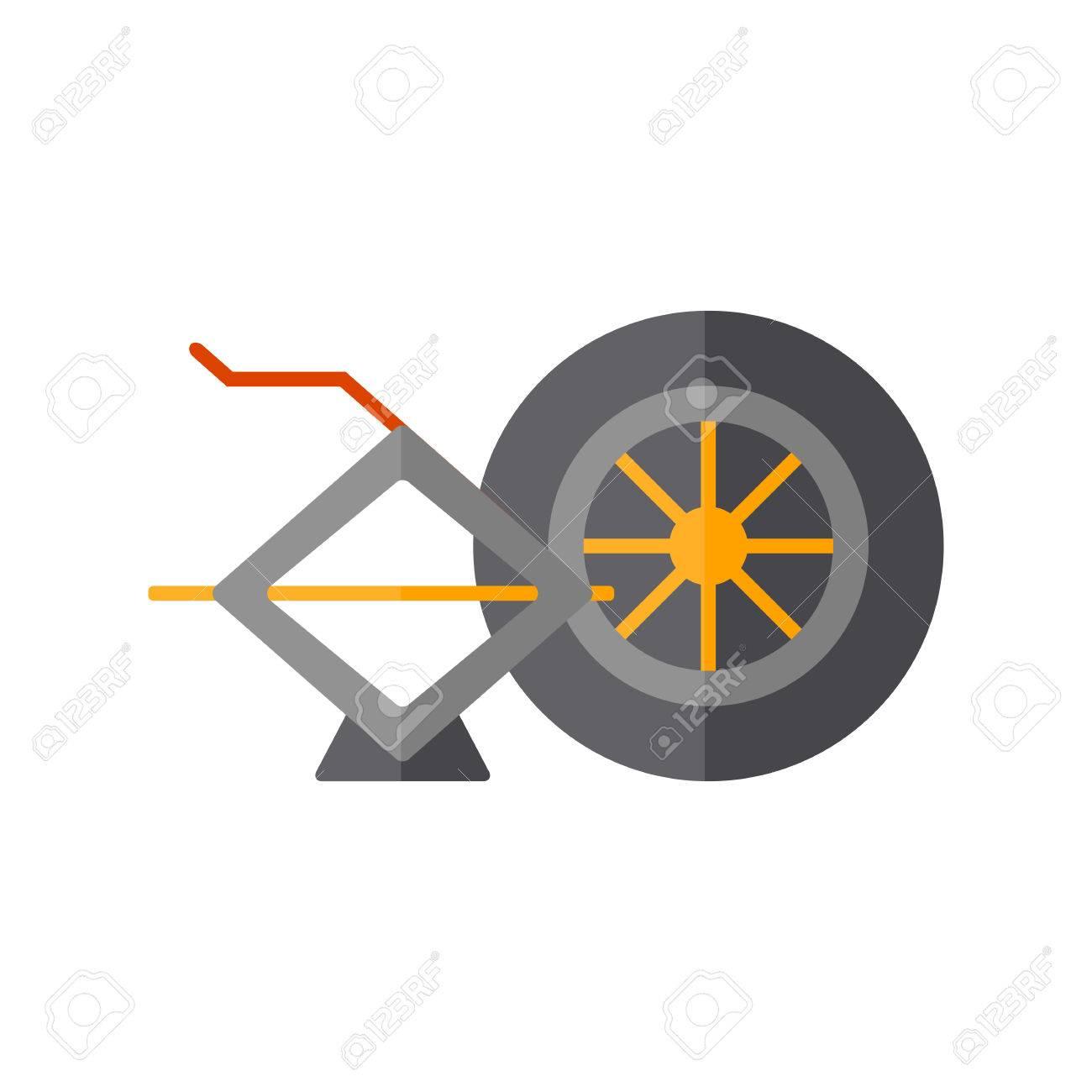 Design of car jack - Vector Car Repair Service Concept Flat Wheel And Car Jack Car For Flat Design Car Repair Concept