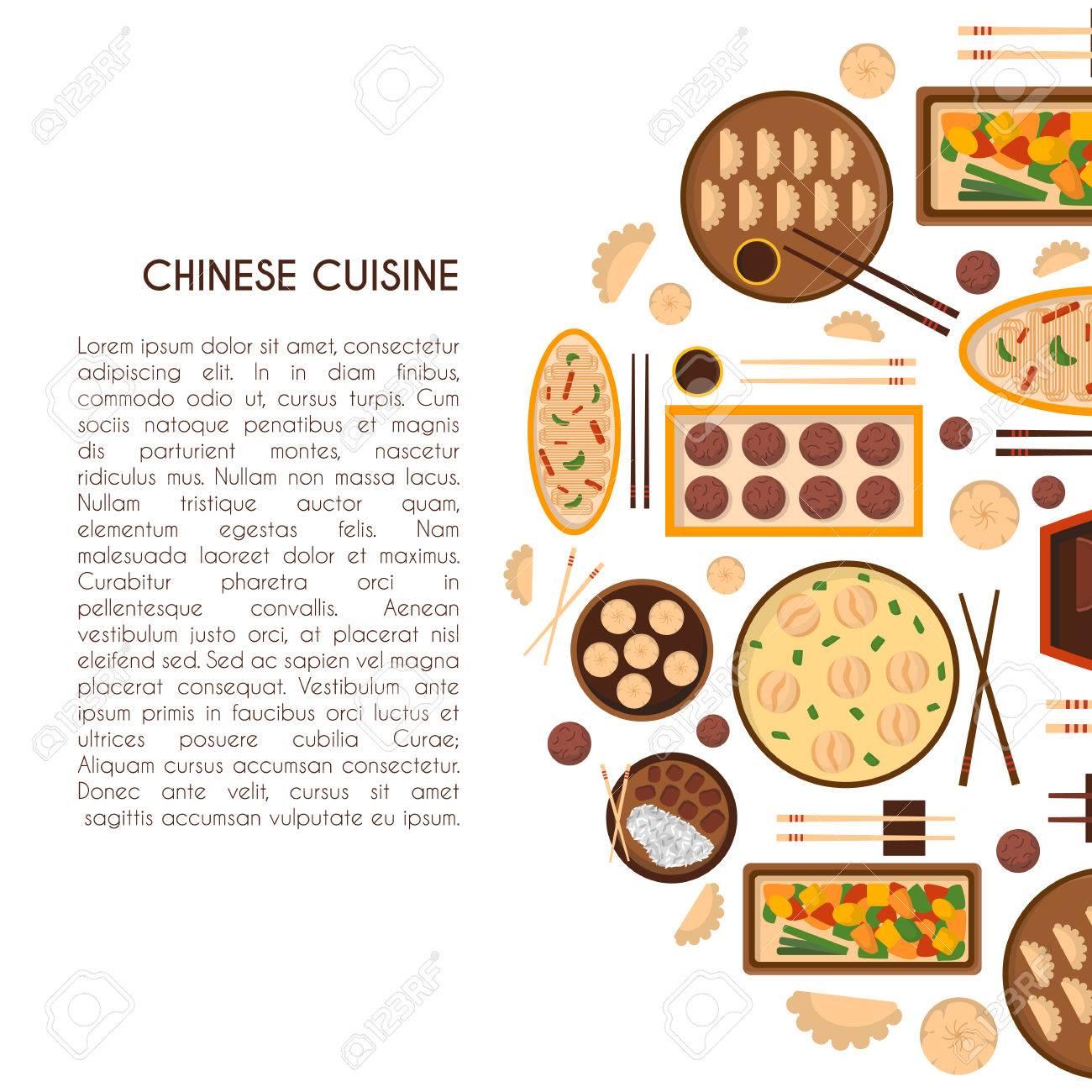 Vektor-Illustration Mit Cute Cartoon-chinesische Küche Essen: Huhn ...