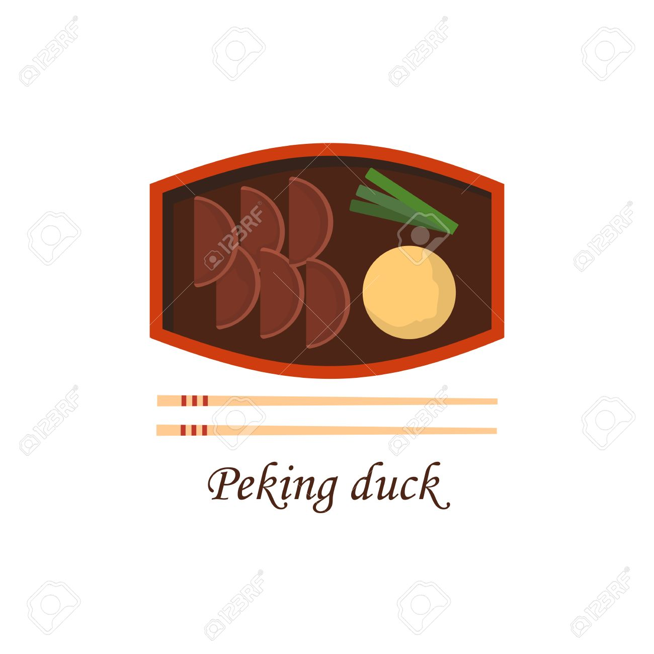 Vector Ilration With Cartoon Traditional Chinese Peking Duck Meat Sauce Plate Chopsticks
