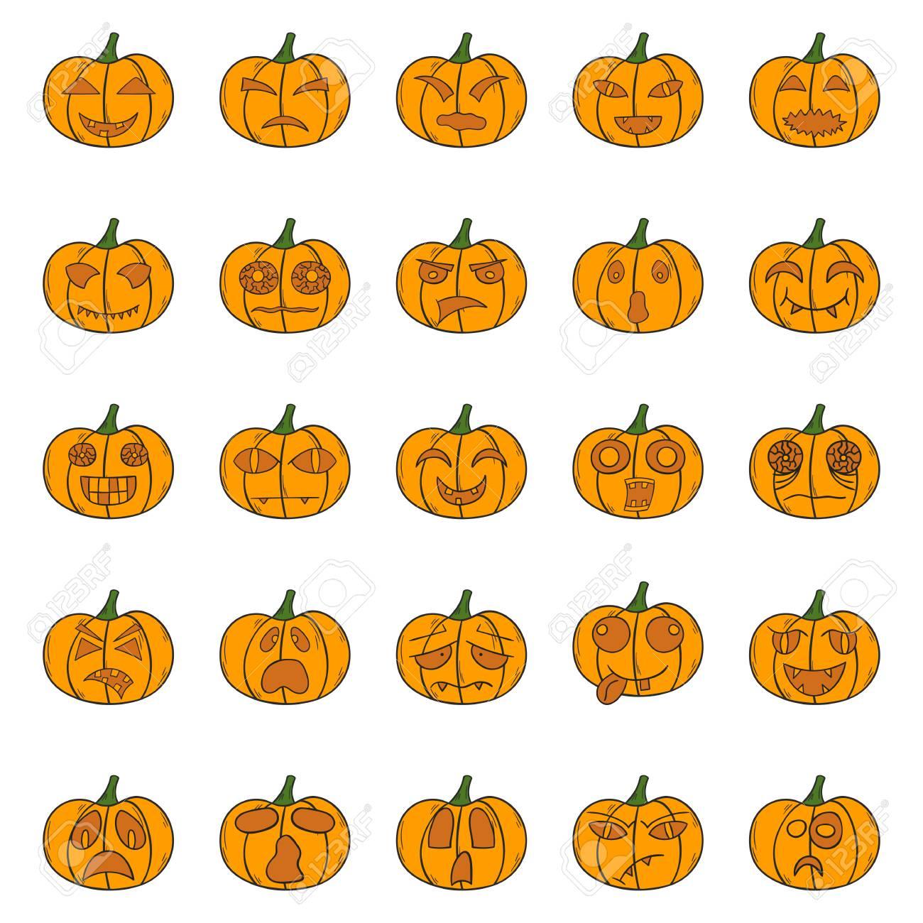 Illustration With Cartoon Hand Drawn Set Of Orange Halloween - Calabazas-animadas