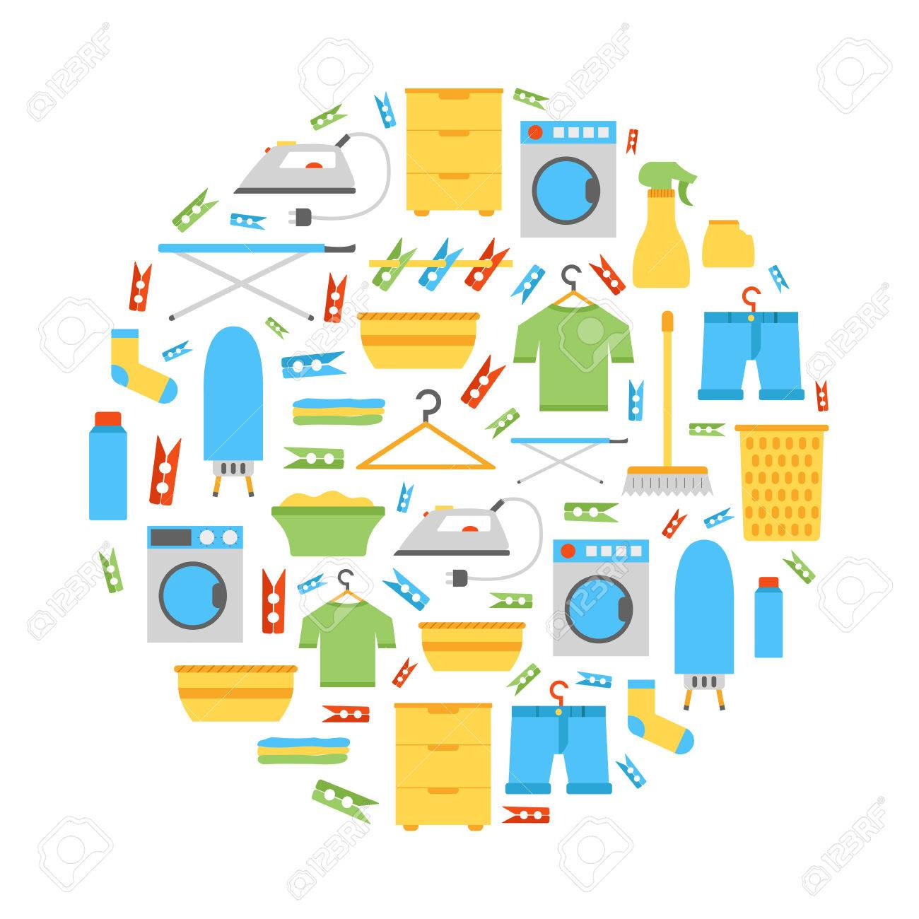 washing machine and dryer clipart. vector illustration with flat laundry room background. washing machine, dryer, iron, clothes machine and dryer clipart