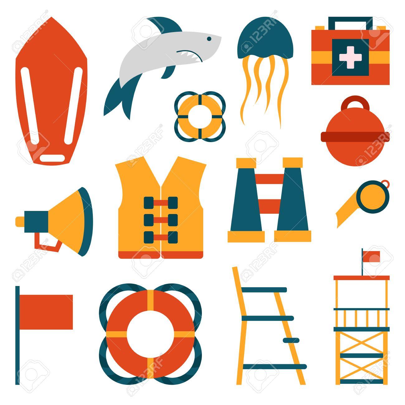 vector de dibujos animados planos de la playa salvavidas de la playa