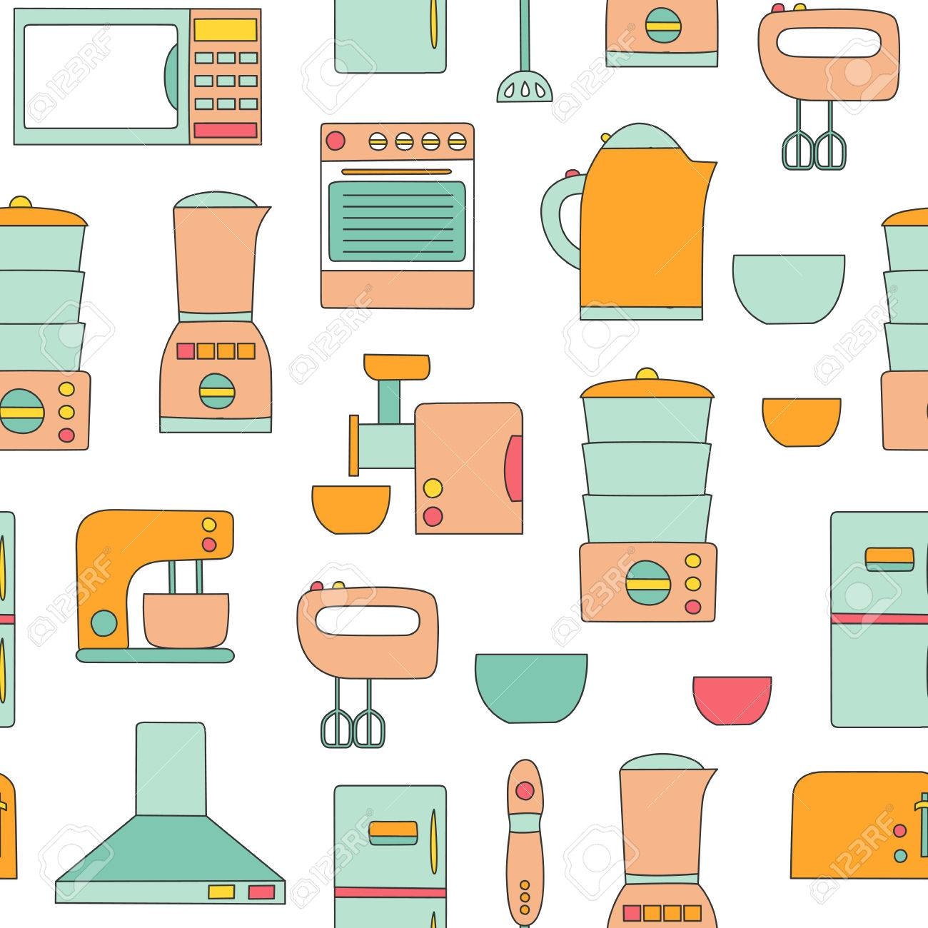 Linie Küchengeräten Hintergrund. Einfache Art Der Küche Interieur ...
