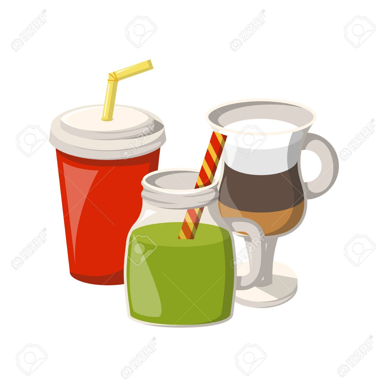 vector illustration with cartoon non alcoholic beverages icons rh 123rf com cartoon drinking game cartoon drink images