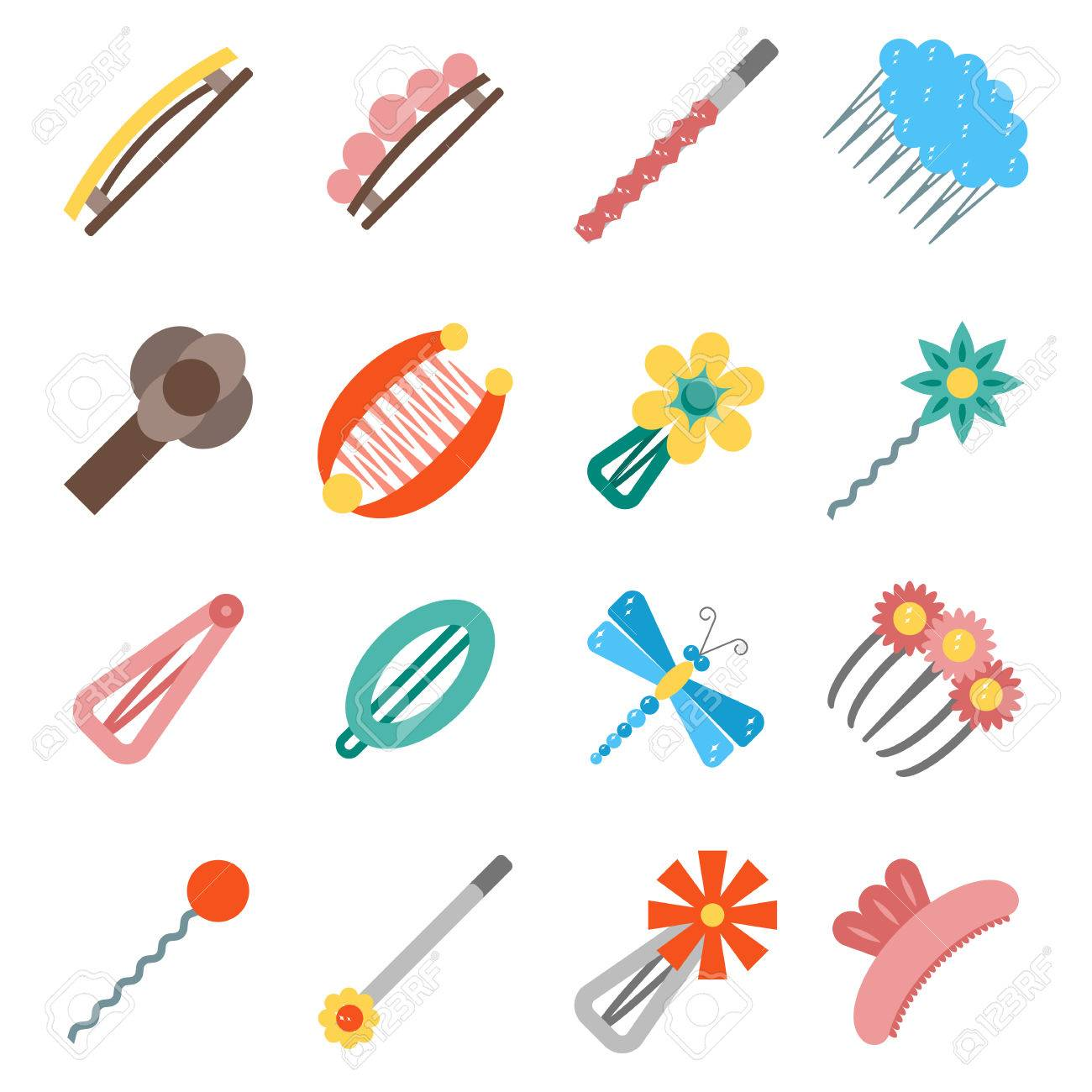 Vector illustration with cartoon flat hairpins icon. Hair accessories..