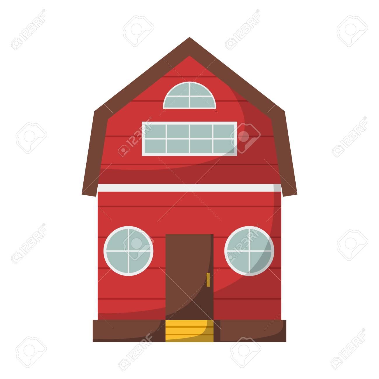 vector illustration with cartoon isolated farm house on white rh 123rf com  cartoon farm house images