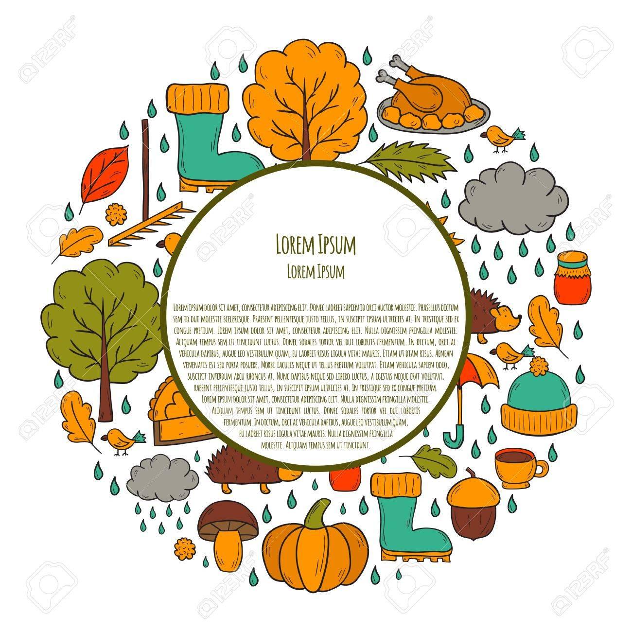 ベクトル漫画イラストの手には秋の背景が描画されますカボチャのパイ