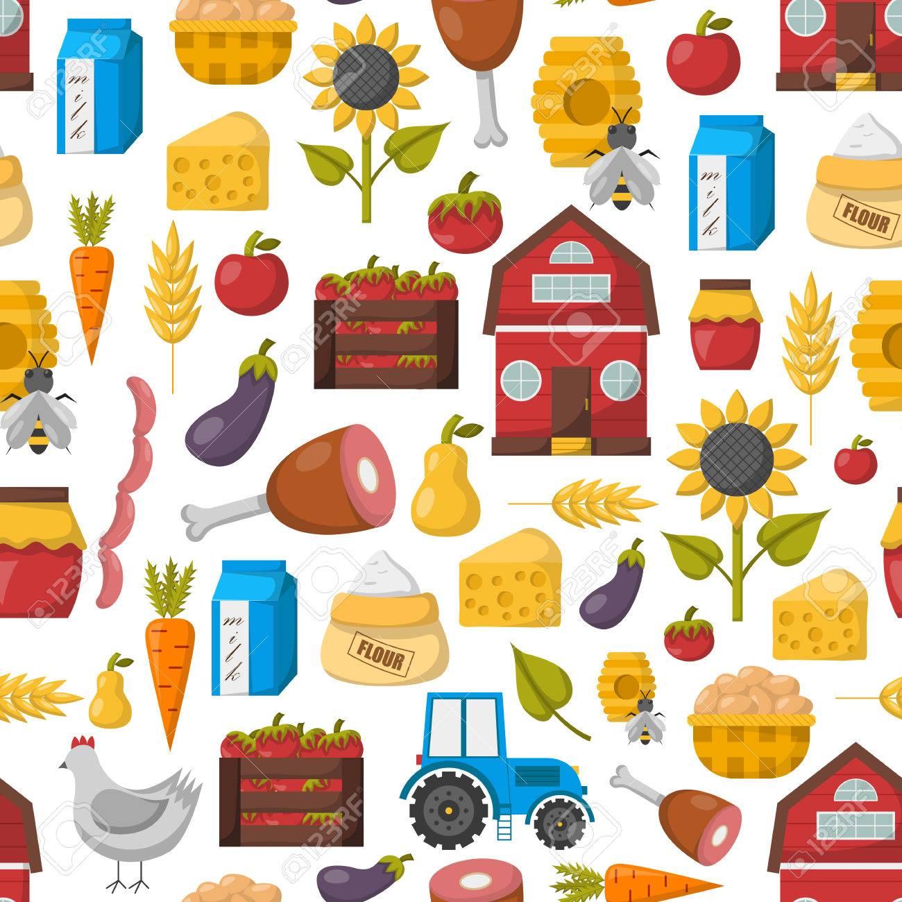 ベクトル イラスト漫画ファーム市場背景を持つ有機農場のコンセプト