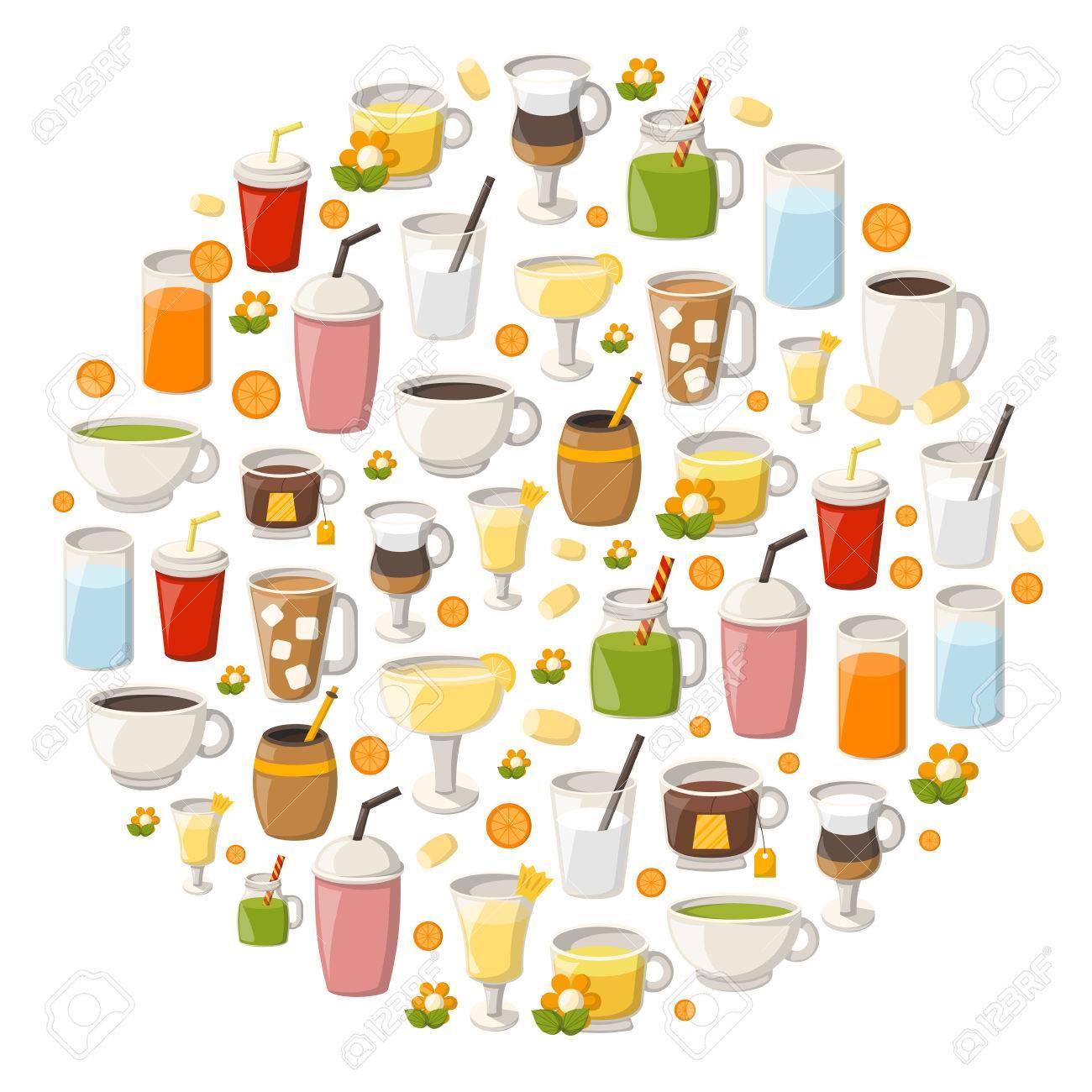 Illustration Mit Cartoon Alkoholfreie Getränke Hintergrund. Gläser ...