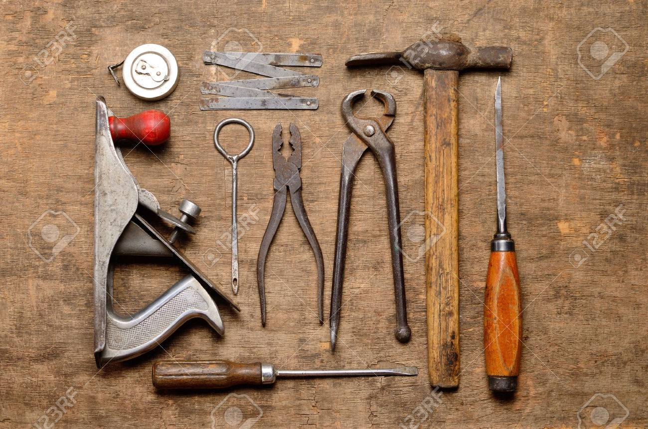 Old Carpenter S Tools For Working With Wood Stock Photo Picture And