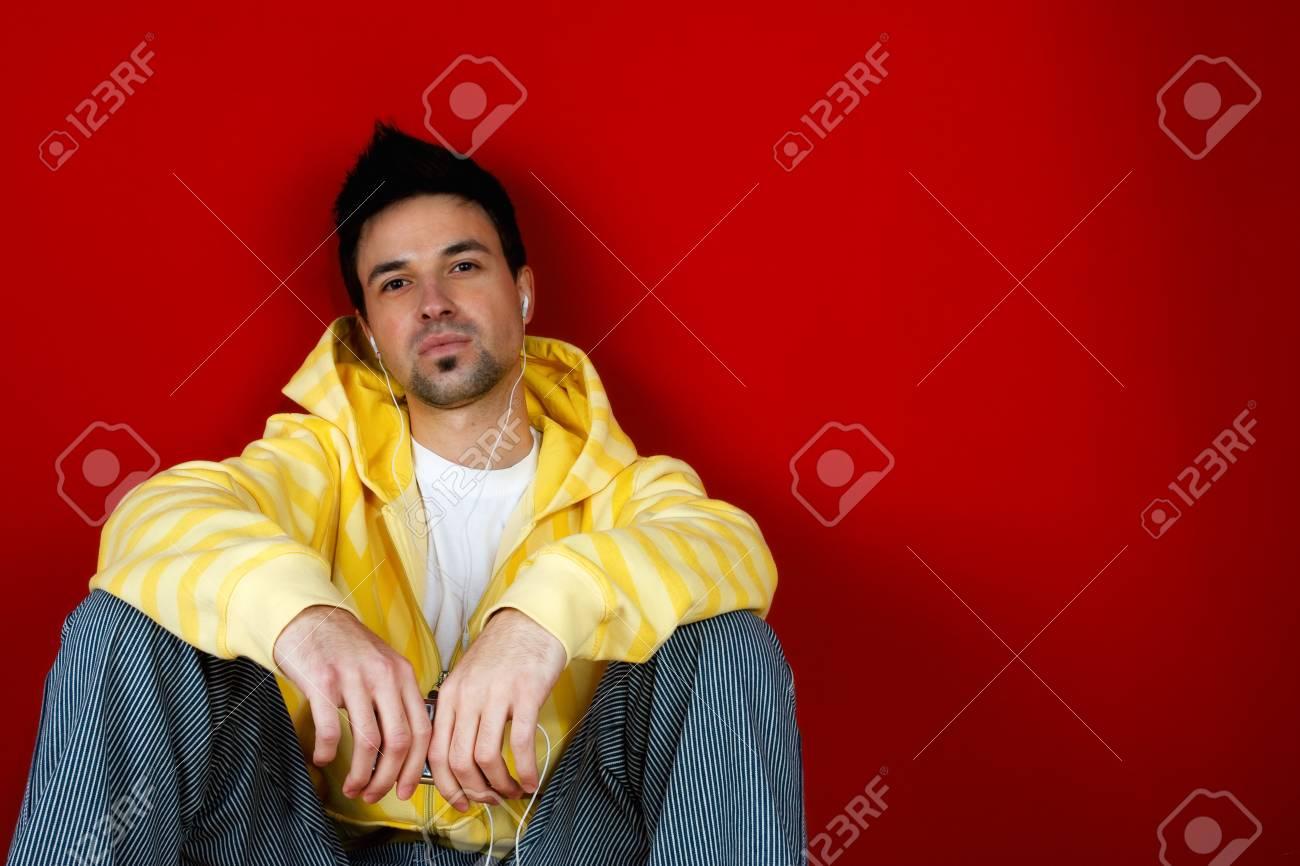 Young man listen music Stock Photo - 4118757