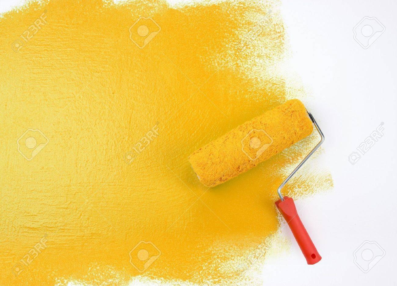 Yellow paint roller Stock Photo - 4143932