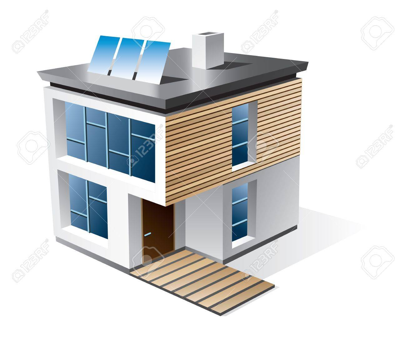 Isolated 3d icon of modern family house with wood facade Stock Vector - 14480681