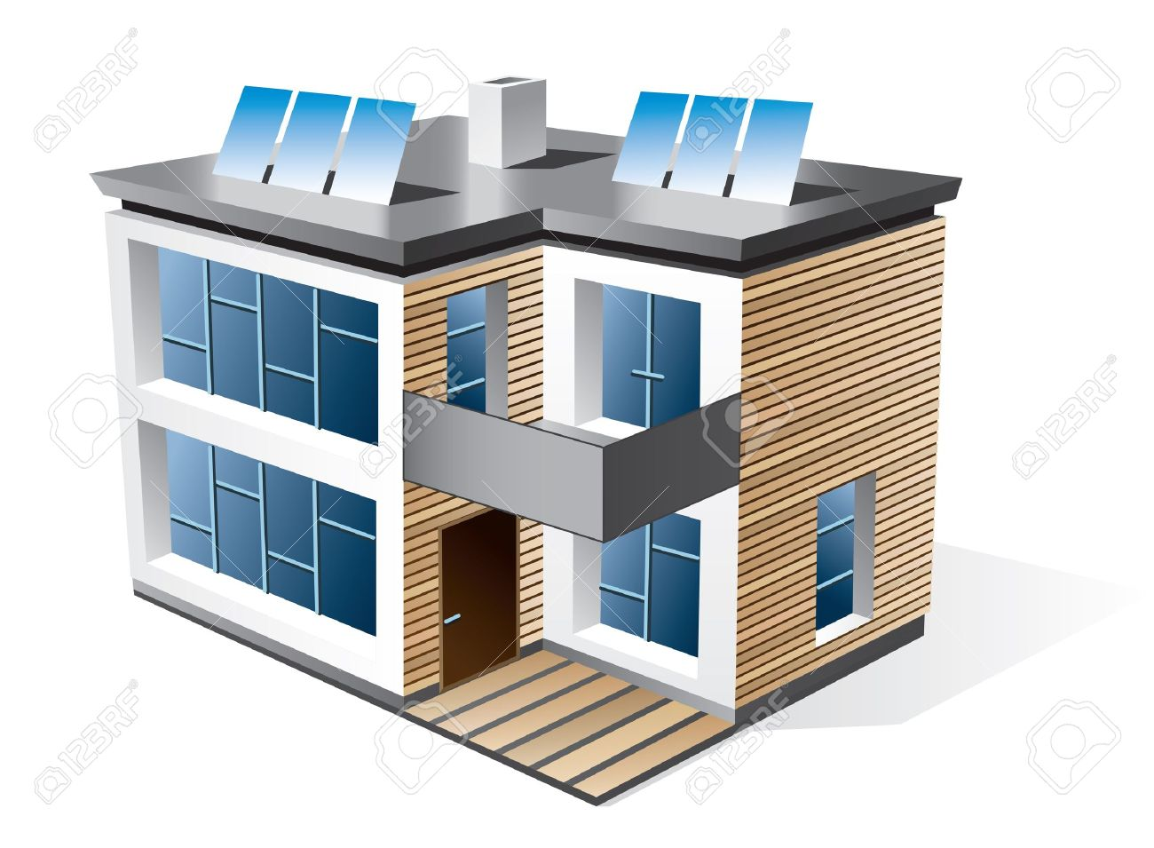 Geïsoleerde 3d pictogram van de moderne eengezinswoning met houten