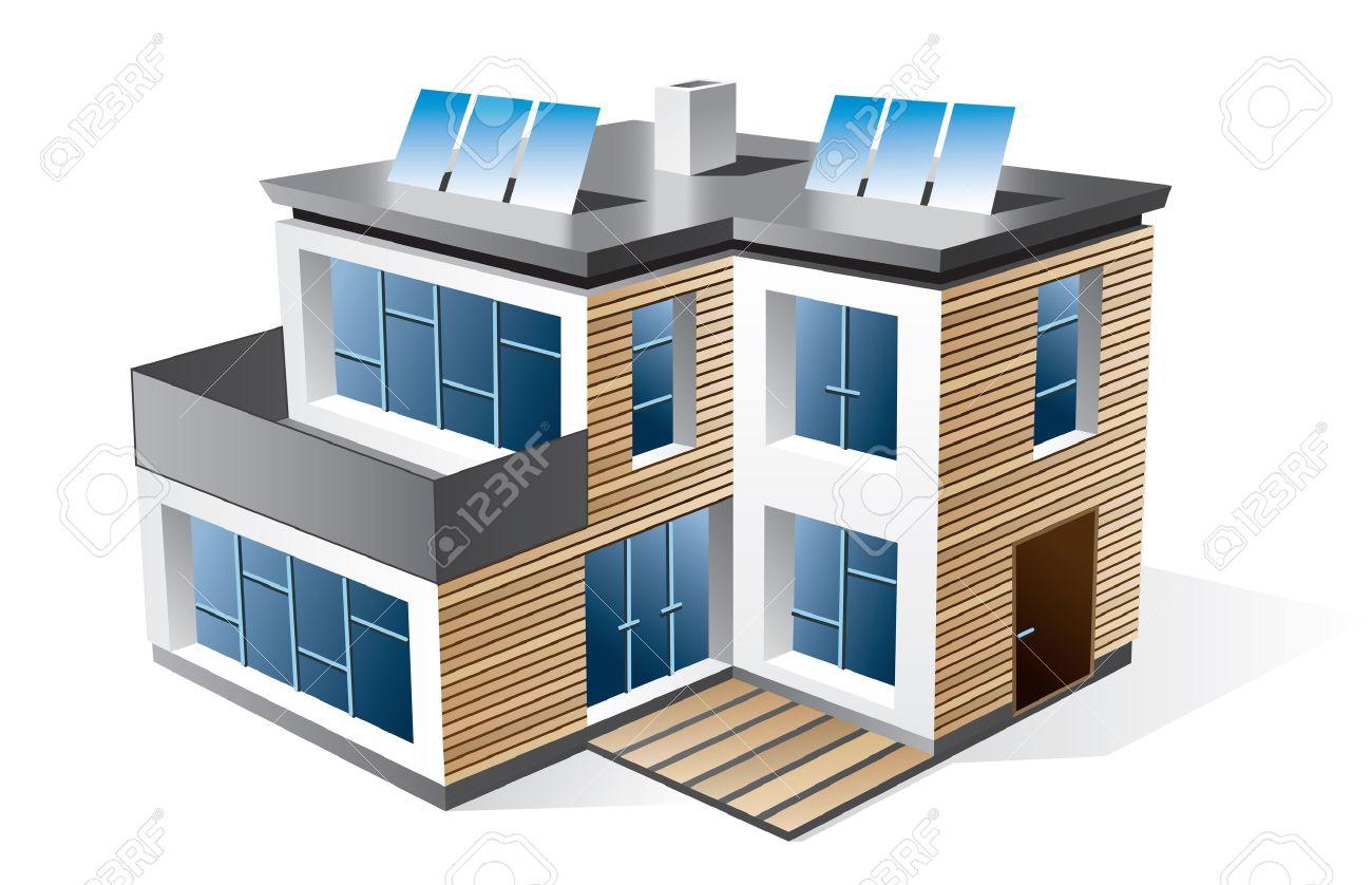 Moderne villa isolierte 3d ikone des modernen einfamilienhaus mit holzfassade prüfen sie mein portfolio