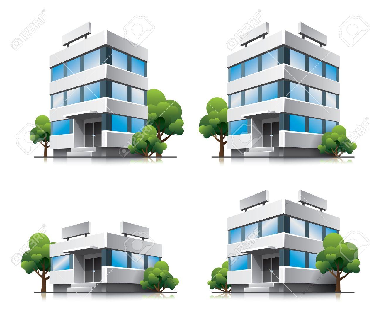 Four cartoon office vector buildings with trees Stock Vector - 15481043