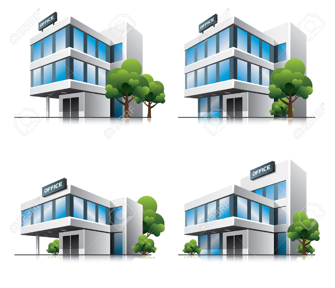 Four Cartoon Office Buildings With Trees Royalty Free Cliparts