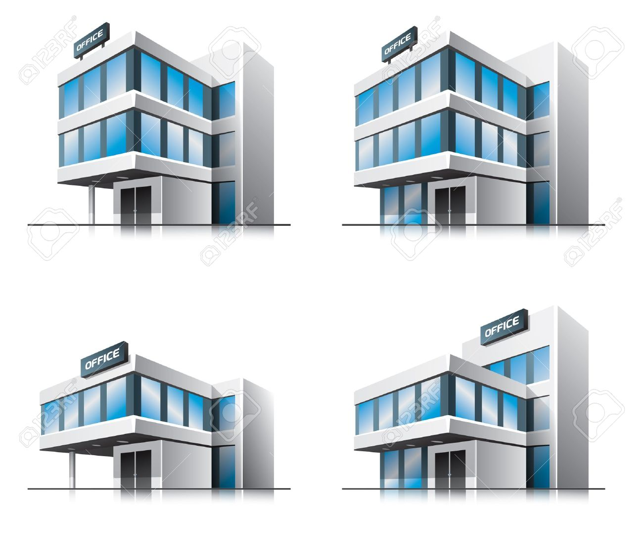 Four Cartoon Office Buildings Royalty Free Cliparts Vectors And Stock Illustration Image 15712371