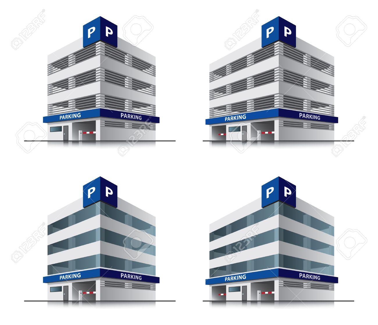 Four cartoon car parking vector buildings Stock Vector - 21581628