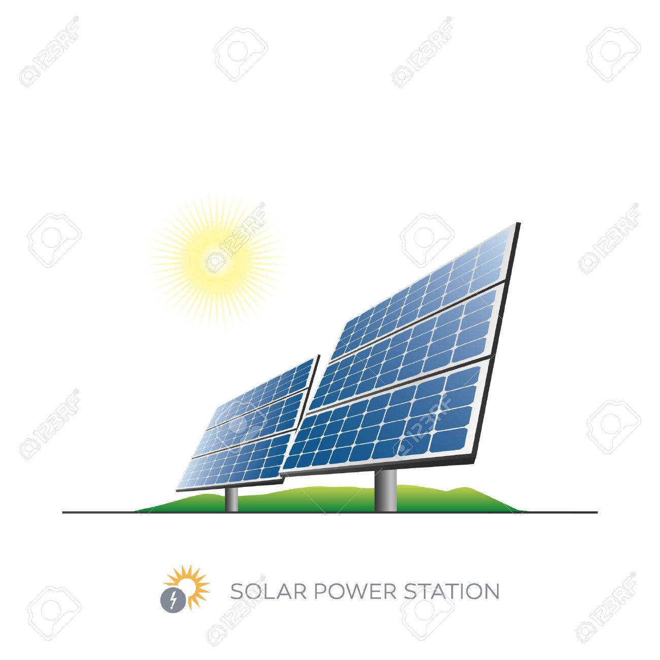 Isolated solar power station icon with sun on white background - 27535703