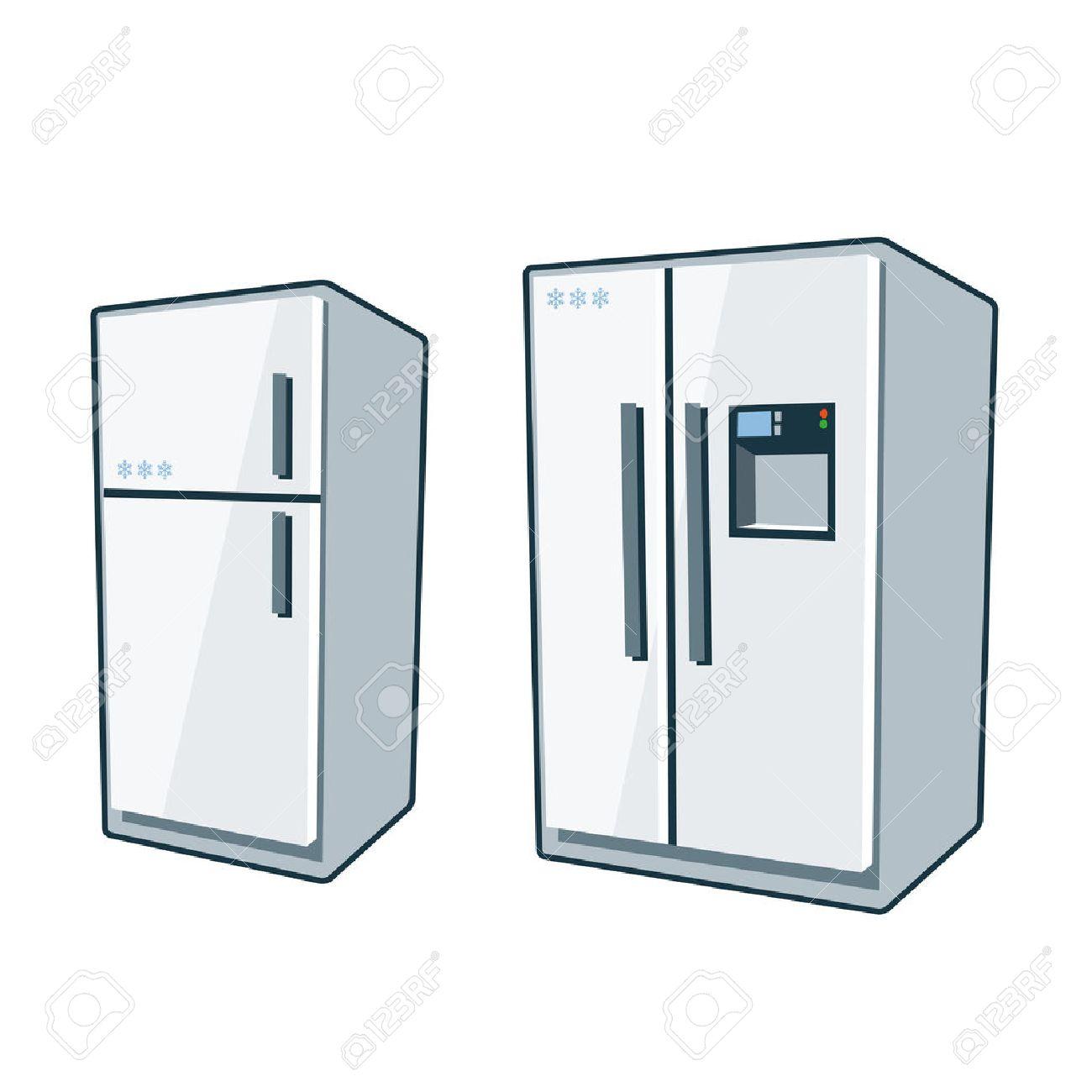 Zwei Comic-Vektor-Icons Von Kühlschrank Und Side-by Side Kühlschrank ...