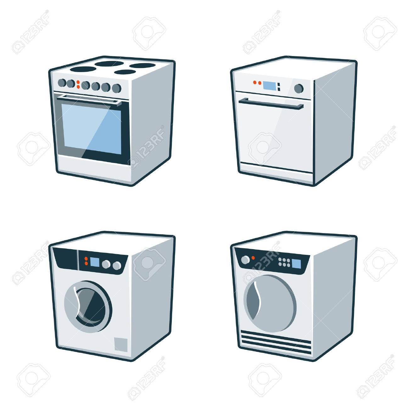 Washer And Dryer Clipart set of four vector icons of an oven cooker, dishwasher, washing