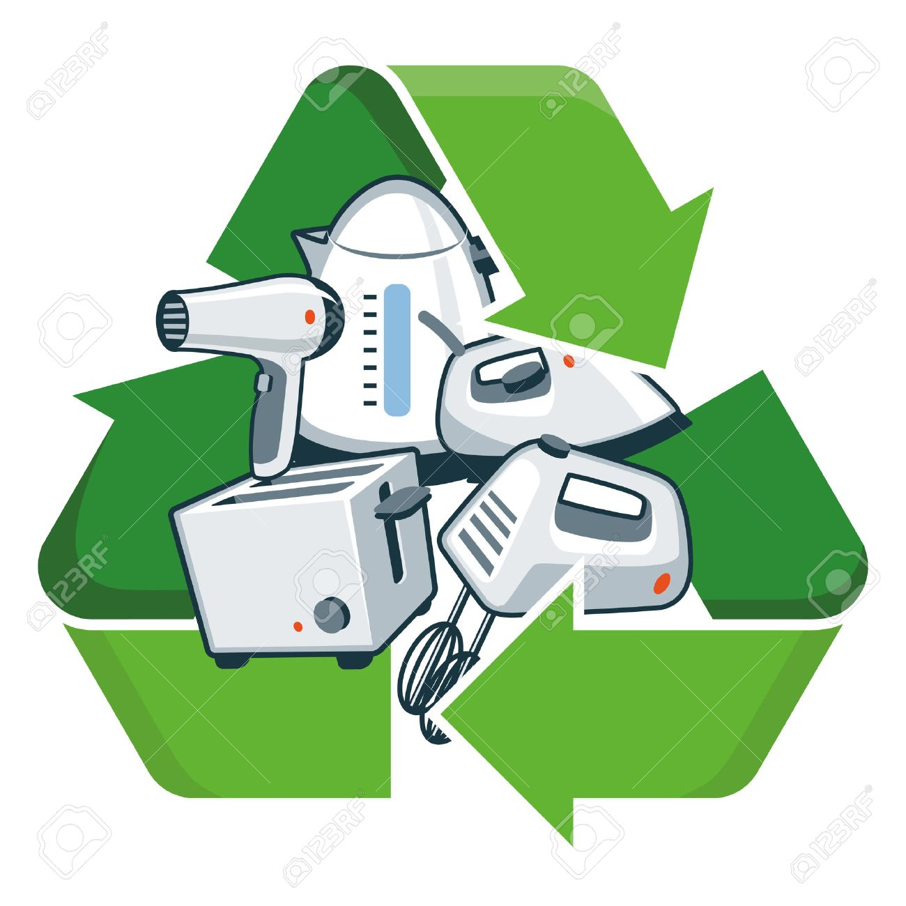 Small Electronic Home Appliances With Recycling Symbol Isolated