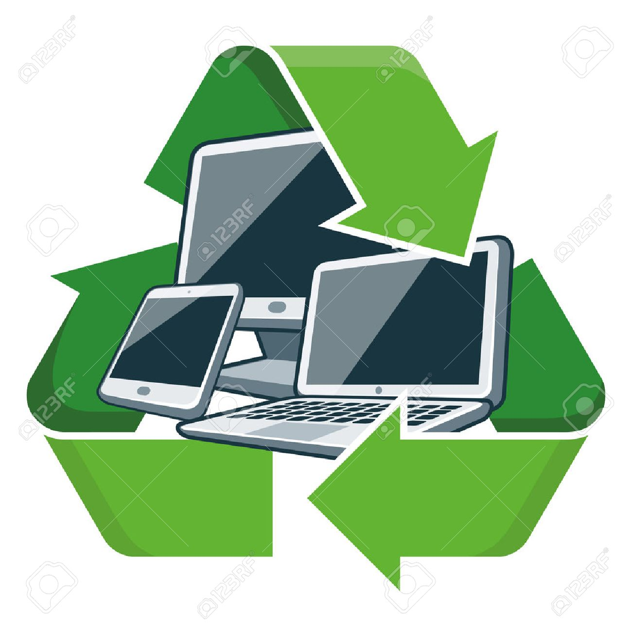 Electronic Devices With Recycling Symbol Isolated Vector ...