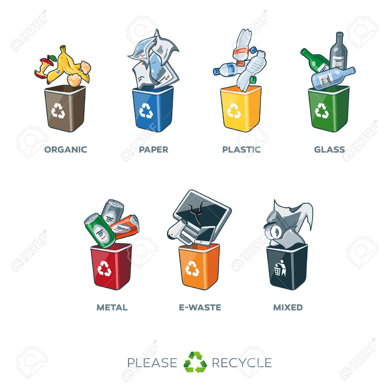 Illustration of separation recycling bins - 39500126