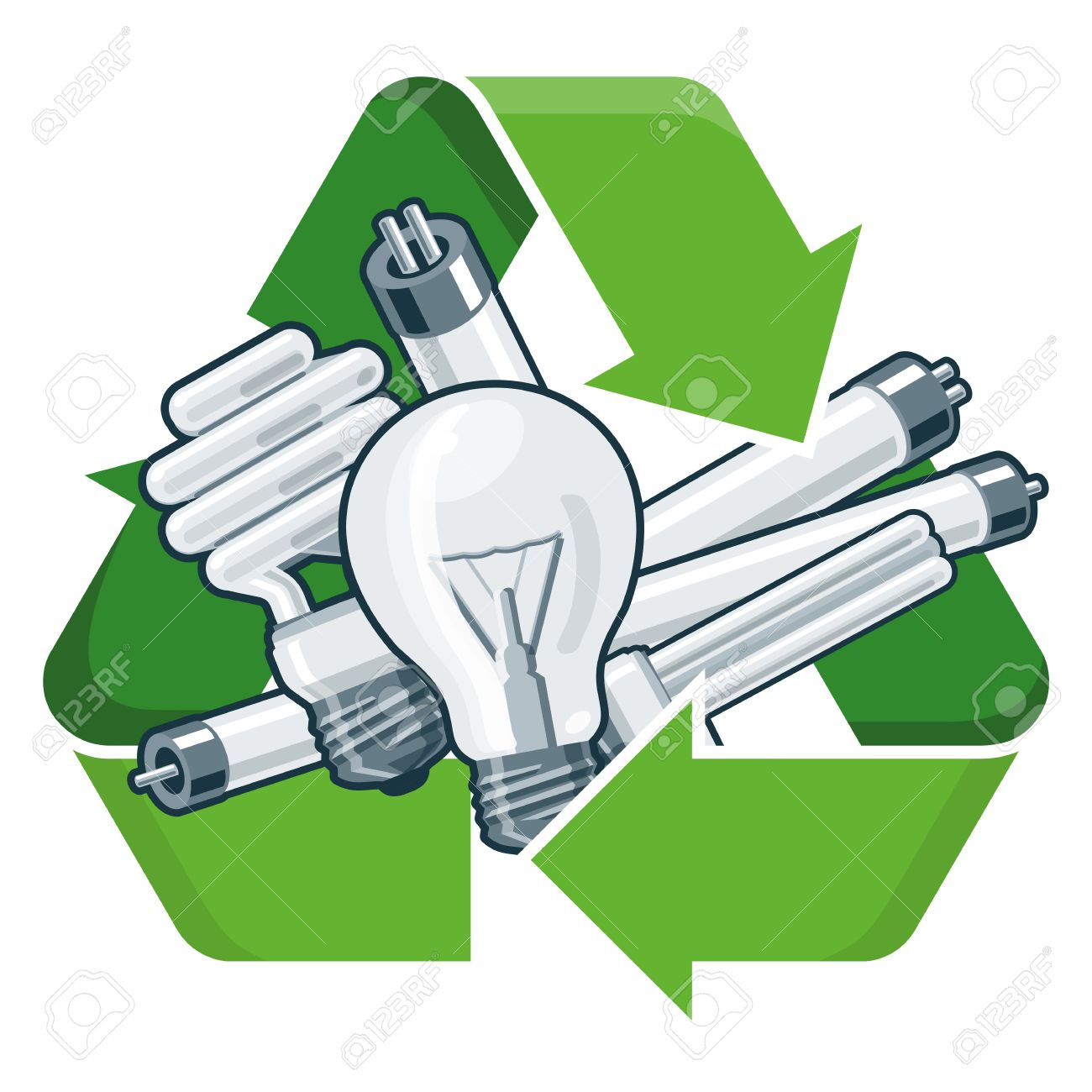 Used Light Bulbs With Green Recycling Symbol In Cartoon Style
