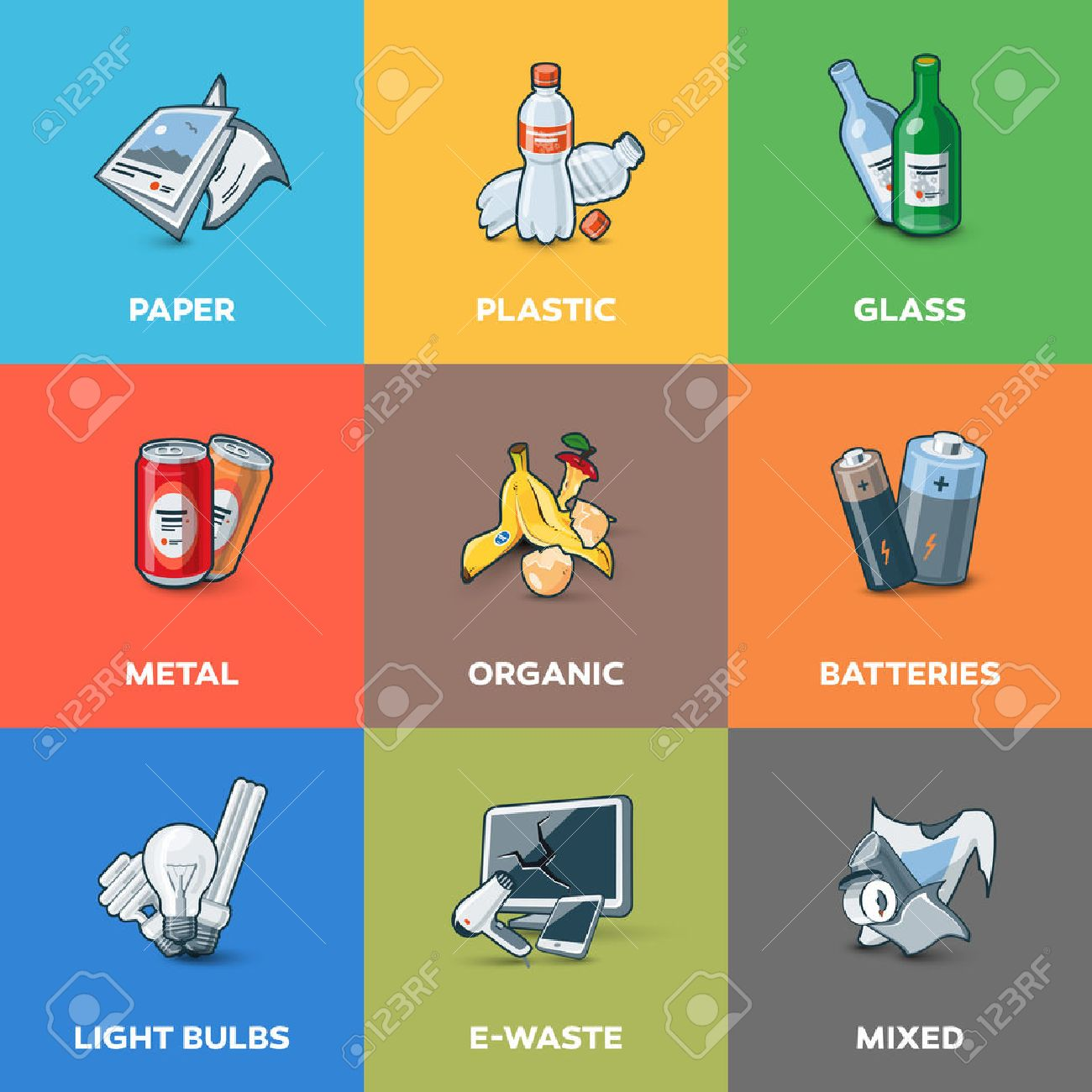 Illustration of trash categories with organic, paper, plastic, glass, metal, e-waste, batteries, light bulbs and mixed waste. Waste types segregation recycling management concept. - 43473983