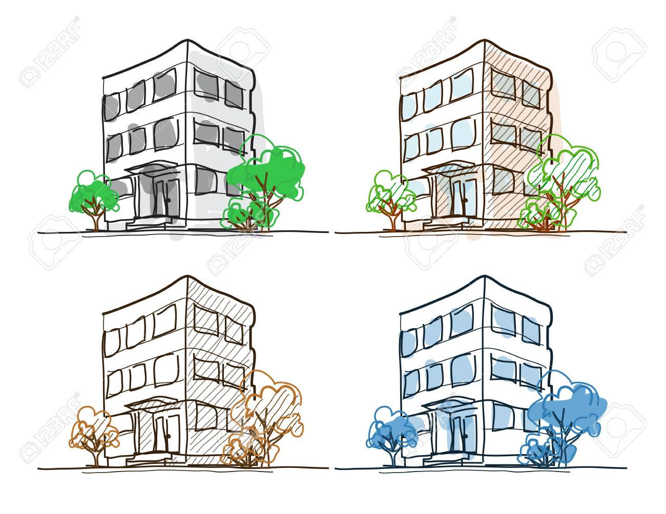 Four outline building freehand drawings doodle sketch with shading and hatch line width easy to