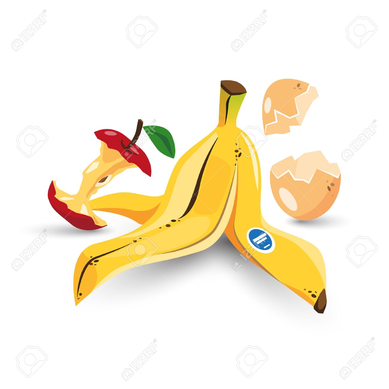 Vector illustration of isolated food trash organic rubbish with banana peel, apple core and egg shell in cartoon style. - 50529784