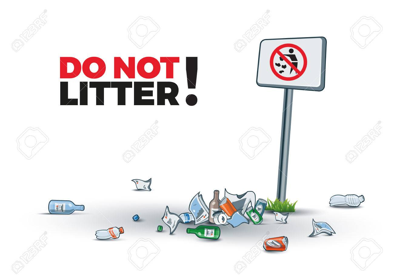 Vector illustration of littering near the No littering sign creating trash island. Place your text. - 51224863